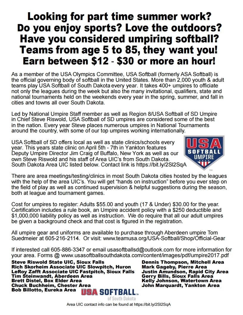 USA Softball of South Dakota - Have You Considered Becoming